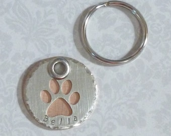Dog Paw Pet ID Dog Tag - Hand Stamped Cutout Dog Paw Dog Tag - Nickel Silver and Copper Heavy Duty Dog Tag - Pet Gift