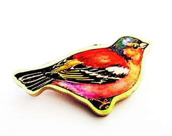 1960s Chaffinch Brooch - Pin / Unique Gift Under 50 / Upcycled Vintage Hand Cut Wood Jewelry / Red, Pink, Black, White  Bird & Name Pin
