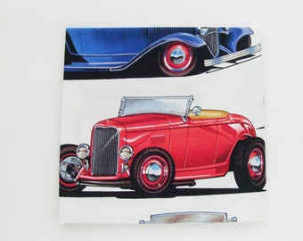 Deuce Coupe Cotton Napkins / Set of 4 / Hot Rod Cars Table Decor / White, Red, Blue, Green, Brown, Gray / Eco-Friendly Gift Under 50 for Him