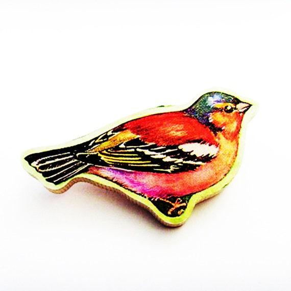 Chaffinch Brooch - Pin / Upcycled 1960s Hand Cut Wood Puzzle Pieces / Red, Pink, Black Chaffinch Bird & Name Pin / Unique Gift Under 50