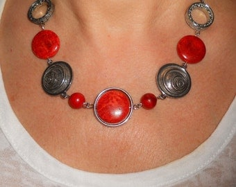 Statement necklace, red necklace, boho chic necklace, bohemian jewelry, silver link necklace, unique necklaces for women, red jewelry