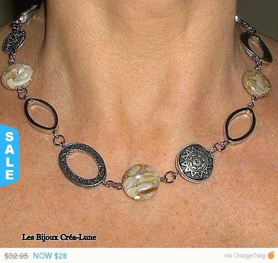 Sale Boho chic Necklace, Silver link necklace, creamy caramel necklace asymmetrical jewelry, bohemian jewelry