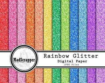 Digital Scrapbook Paper Glitter Paper Rainbow Colors 16 Colors 12 x 12 Instant Download