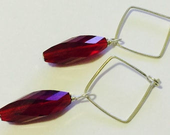 Red's Night Out Vintage Crystal Earrings