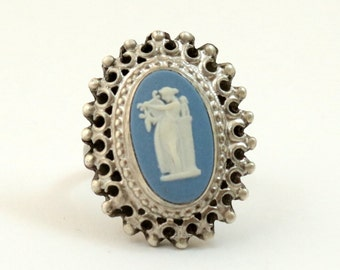 Vintage Wedgwood Ring Sterling Silver Blue Jasper Cameo Ring Wedgewood Ring US Size 6.25 UK Size M
