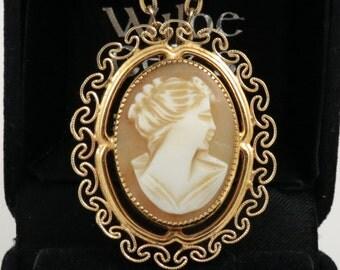 Cameo Brooch 12k Gold Filled Shell Gold Filigree Cameo Brooch Pendant Cameo Pin 12k Gold Filled Cameo Vintage Cameo Pendant Filigree Cameo