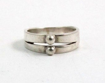 Vintage Sterling Silver Beaded Band Modernist Ring, US 7, UK N Half, British Hallmarked London 1972