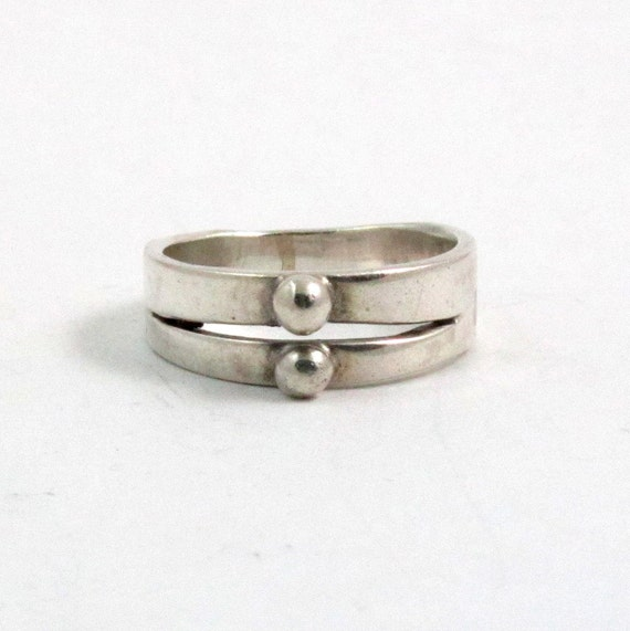 Vintage Sterling Silver Double Ball Band Modernist Ring