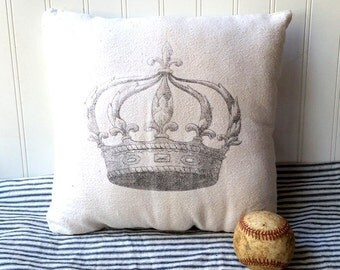Crown pillow vintage grainsack feedsack cotton pillow Cream grey  Queen Swedish French Farmhouse Cottage Chic