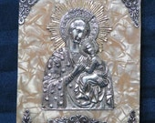 SALE Madonna Mary and Jesus Icon Wall Plaque/ Metal on Formica Religious Art