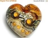 ON SALE 50% OFF 11831425 Butterscotch Stardust Heart (Large) - Handmade Glass Lampwork Bead