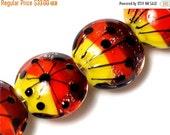 ON SALE 30% OFF Four Sunset Rainbow Lentil Beads -10706912 - Handmade Glass Lampwork Bead