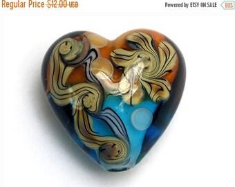 ON SALE 40% OFF Light Brown w/Blue Free Style Heart Focal Bead - Handmade Glass Lampwork Bead 11806305