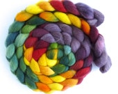 Falkland Wool Roving - Hand Dyed Spinning or Felting Fiber Fiber, Sunflower Faces, 4 ounces