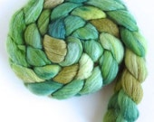 Pre-Order, Green Surround, Merino/TussahSilk Wool Roving, Three Waters Farm
