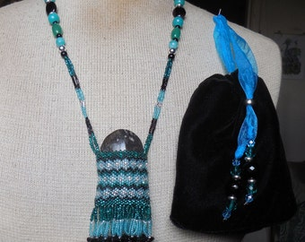 Beaded Orthoceras Fossil Necklace w/ Onyx / Amazonite / Green Agate Gemstone Beads in Teal / Turquoise Blue / Black / Silver - OlyTeam