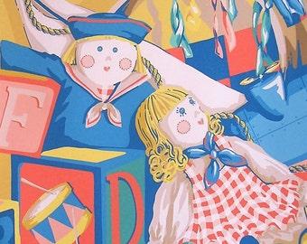Vintage Wallpaper Roll Vintage Roll of Wallpaper Wall Paper Dolls Blocks Trains Toys