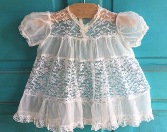 VINTAGE chiffon and lace Christening baby baptism GOWN