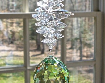 "Green Crystal Sun Catcher, Crystal Ball Prism 30mm Peridot Swarovski Ball and Swarovski Crystal Octagons & Beads 14 Colors ""CATHERINE GREEN"""