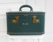 Vintage Train Case, Traincase, Green Train Case, Vintage Green Suitcase, John Wanamaker Train Case