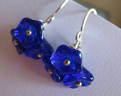 Cobalt Blue Czech Glass Flower and Silver Earrrings, Cobalt Blue Blossom Earrings