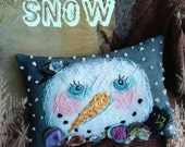 Boho Snow Mixed Media Hand Embroidered Snowman Pillow Ready to Ship YelliKelli