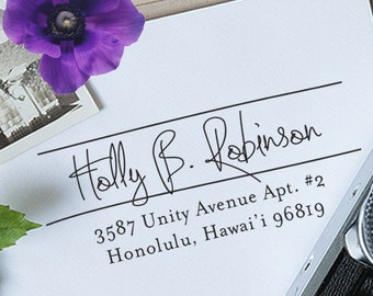 Custom Address Stamp, Calligraphy Stamp, Self Inking Address Stamp, Wedding Stamp, Wedding Gift, Personalization Stamp, Wood Address - 1014