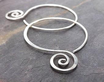 Silver Hoop Earrings Hammered Open Hoops, Coiled recycled eco friendly womens jewelry gift for her