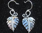 Sterling Silver brutalist  Jungle Leaf with Blue Zircon Earrings