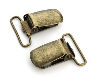 "10pcs - 1"" Suspender Clip - Antique Brass - Free Shipping (SUSPENDER CLIP SPN-114)"