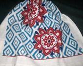 Crochet hanging towel, Two large flowers, burgundy crochet top