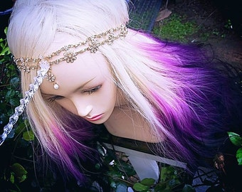 Unicorn Headband Hair Accessory Clear Glitter Horn with Gold and Pearl Adornment Ren Faire / Fantasy Wedding /Jewelry Sparkle Fabulous Magic