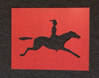Vintage Stencil Indian on a Horse