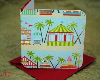 Blank Mini Card Set of 10, Fun Boardwalk Design with Contrasting Pattern on the Inside, Metallic Red Envelopes, mad4plaid