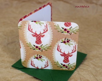 Blank Mini Holiday Set of 10 Cards, Christmas Reindeer Design with Contrasting Plaid on the Inside, Metallic Green Envelopes, mad4plaid