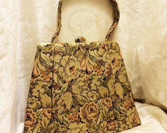 Vintage Mad Men Leon of California Floral Metallic Brocade Handbag with Gold Satin Lining and small Mirror Top Closure 1950s or 1960s
