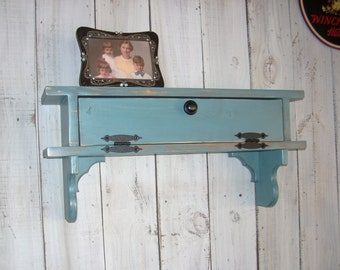 Turquoise Furniture Wall Mount Storage Picture Shelf