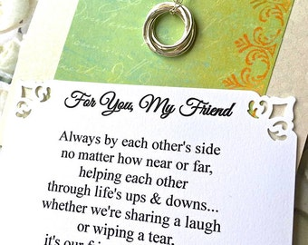 4 FRIENDS Necklace with POEM Card Connected Circles Sterling Silver Four Friends Jewelry 4 Best Friends Gifts for Four Best Friends Gift Box