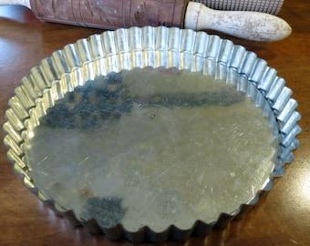 """Vintage French Tart Flan Baking Pan Tin 8"""""""