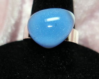 Periwinkle Handmade Fused Dichroic Glass Cab Ring - R141