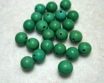 Turquoise Blue Chalk Turquoise Round Beads (Qty 23) - B2973