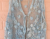 plus size blue lace vest cotton accent blouse flower crochet top