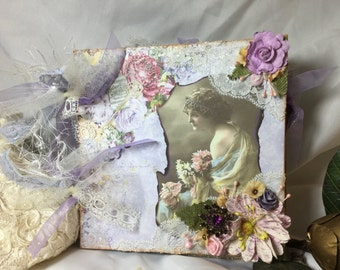 Romance Victorian Inspired Vintage Style MixedMedia Scrapbook Journal Art