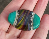 Teal, Rainbow and Earthy Tab Focal Lampwork Glass Bead