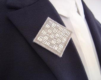 Silver Beaded Brooch, Small Felt Brooch, Square Brooch, Geometric Brooch, Womens Brooch, Gift For Her, Brooch Pin Gift, Gift Boxed Brooch
