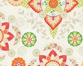 Safari Animals fabric | Floral Medallions | Gail Cadden Gail-C4314-Cream | Cotton Quilting fabric