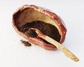 Rustic Salt Pig with Spoon, Small Wrinkled Pottery Bowl. Primitive,  Hobbit Tableware, Salt Cellar, Brown Cream
