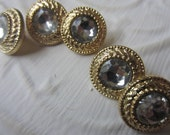 Vintage buttons 5 small matching rhinestone, solitaire style, 5/8 inch,  (sept 372)
