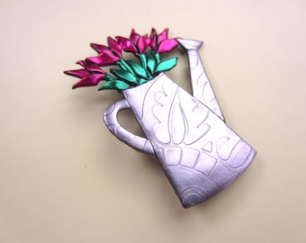 Watering can of fuschia pink pink tulips bouquet gardening pin brooch