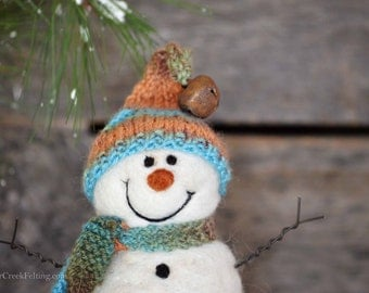 Snowman - handmade - needle felted- one of a kind -  719
